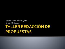 TALLER REDACCIÓN DE PROPUESTAS