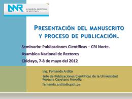 Presentación del manuscrito y Proceso de publicación de un