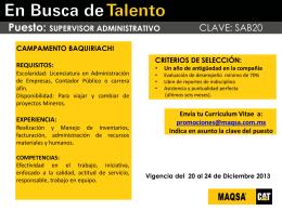 Promoción Interna SUPERVISOR ADMINISTRATIVO (Baquiriachi).