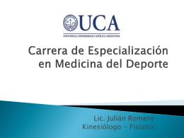 Carrera de Especialización en Medicina del Deporte.