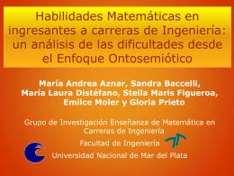 Habilidades Matemáticas en ingresantes a carreras de Ingeniería