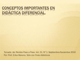 Conceptos importantes en Didáctica diferencial