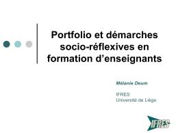 Portfolio et démarches socio-réflexives en formation d`enseignants