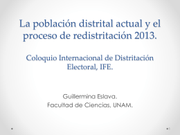 La población distrital actual y el proceso de redistritación 2013