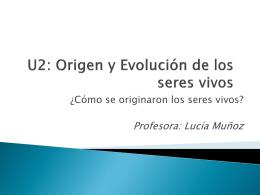 U2: Origen y Evolución de los seres vivos