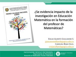 Se evidencia impacto de la investigación en Educación Matemática