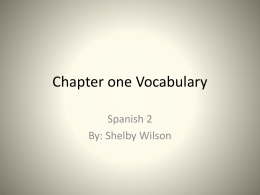 Chapter one Vocabulary