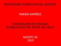 NECESIDADES FORMATIVAS DEL DOCENTE. MARINA RAMÍREZ.