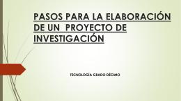 pasos para la elaboración de un proyecto de investigación