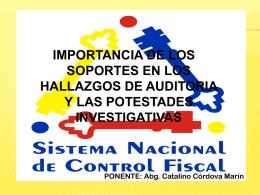 Control Fiscal. Catalino Córdova