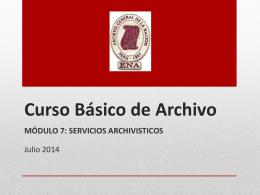 Curso Básico de Archivo - Escuela Nacional de Archiveros