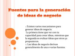 Fuentes para la generación de ideas de negocio.