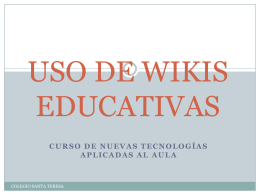 USO DE WIKIS EDUCATIVAS - cursonuevastecnologias
