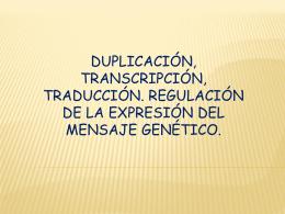 DUPLICACIÓN , TRANSCRIPCIÓN TRADUCCIÓN ADN