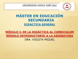 MÁSTER EN EDUCACIÓN SECUNDARIA DIDÁCTICA ESPECÍFICA