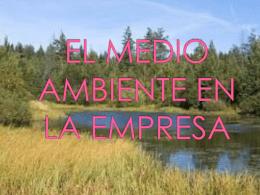 EL MEDIO AMBIENTE EN LA EMPRESA