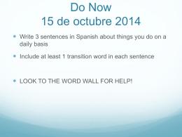 Do Now 15 de octubre 2014