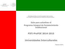 PIFI- ProFOE 2014-2015