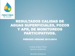 Resultados calidad de aguas superficiales, pozos y APR, de