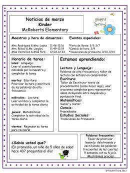 Maestras y hora de almuerzos: Eventos especiales