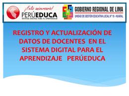 REGISTRO Y ACTUALIZACIÓN DE DATOS DE DOCENTES EN EL