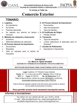 Taller de Comercio Exterior - Facultad de Contaduría Pública y