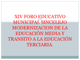 xiv foro educativo municipal sincelejo modernizacion de la