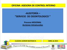 PRESENTACION SERVICO DE ODONTOLOGIA 2015