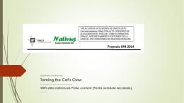 1 Avances del Proyecto Domesticación de Uncaria tomentosa