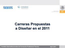 Carreras Propuestas a Diseñar en 2011 Abril