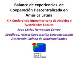 Balance de Experiencias de Cooperación Descentralizada en