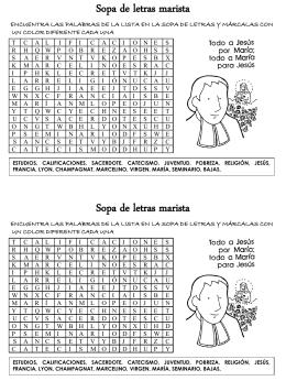SOPA DE LETRAS - Pastoral Primarias Maristas