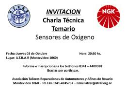 INVITACION Charla Técnica Temario Sensores de Oxigeno