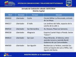 Jornada de Cedulación sábado 19/07/2014