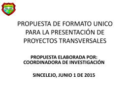 propuesta de formato unico para la presentación de proyectos