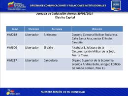 Jornada de Cedulación viernes 30/05/2014