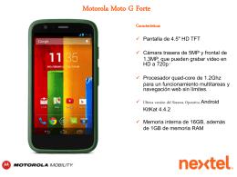 Hoja de datos Moto G Forte