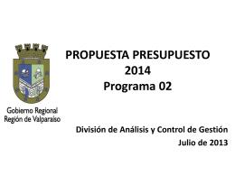 Propuesta de presupuesto 2014