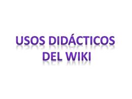 Usos didácticos del wiki - redescolar