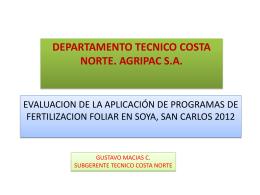 evaluacion de la aplicación de programas de fertilizacion foliar en