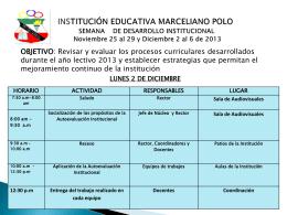 semana de desarrollo institucional diciembre 2013