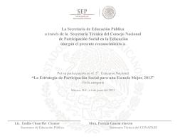 La Estrategia de Participación Social para una Escuela Mejor, 2013