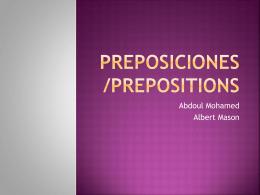 Preposiciones/Prepositions