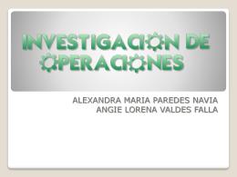 TEMA: INVESTIGACIÓN DE OPERACIONES (IO)