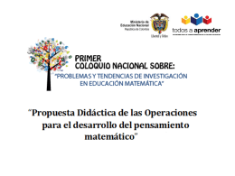 Propuesta didactica de las operaciones para el desarrollo del