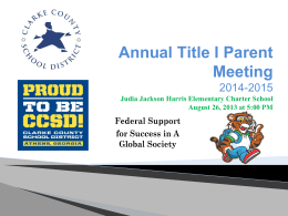 Annual Title I Parent Meeting 2014