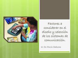 Factores a considerar en el diseño y selección de los sistemas de