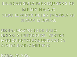 Diapositiva 1 - Academia Mexiquense de Medicina