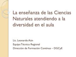 La enseñanza de las Ciencias Naturales atendiendo a la - CIIE-R10