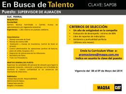 Promoción Interna - SUPERVISOR DE ALMACEN